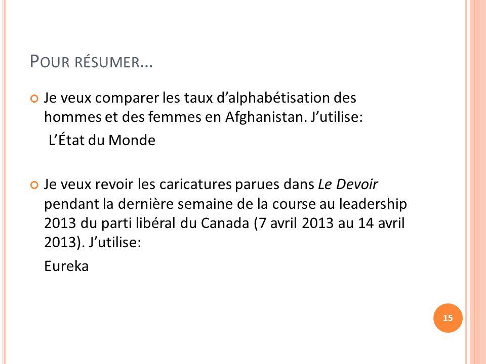 P OUR RÉSUMER … Je veux comparer les taux dalphabétisation des hommes et des femmes en Afghanistan.