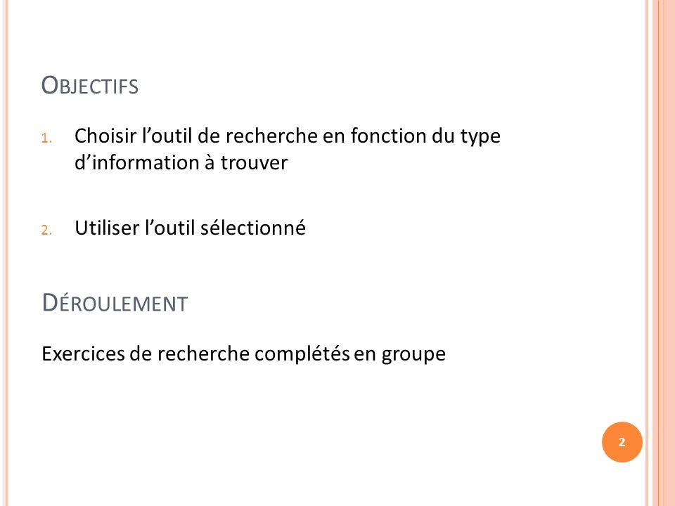 O BJECTIFS 2 1. Choisir loutil de recherche en fonction du type dinformation à trouver 2.