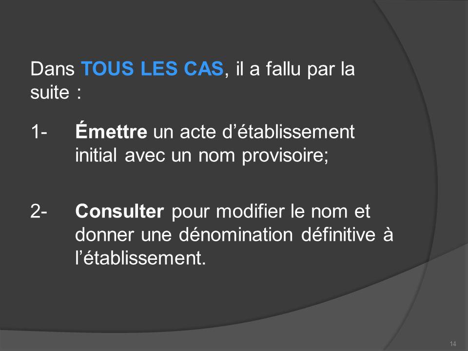 Dans TOUS LES CAS, il a fallu par la suite : 1-Émettre un acte détablissement initial avec un nom provisoire; 2-Consulter pour modifier le nom et donner une dénomination définitive à létablissement.