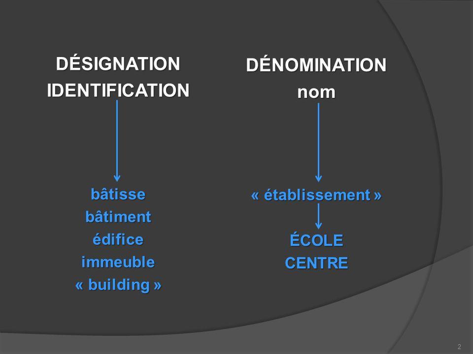 DÉSIGNATIONIDENTIFICATIONbâtissebâtimentédificeimmeuble « building » DÉNOMINATIONnom « établissement » ÉCOLECENTRE 2