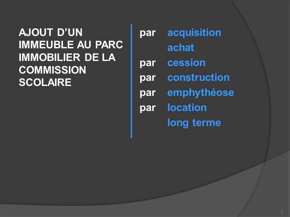 Lorsque la COMMISSION SCOLAIRE ajoute un immeuble dans son parc immobilier, dans un premier temps, elle identifie celui-ci administrativement par un « discriminant », un signe distinctif qui permet à tous de reconnaître limmeuble en cause.