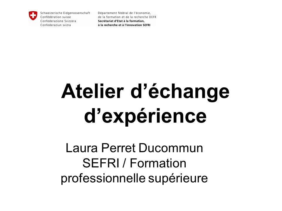 Atelier déchange dexpérience Laura Perret Ducommun SEFRI / Formation professionnelle supérieure