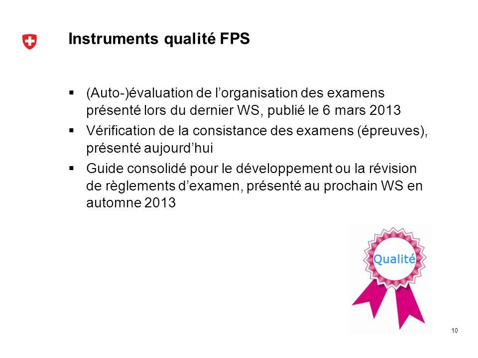 Instruments qualité FPS (Auto-)évaluation de lorganisation des examens présenté lors du dernier WS, publié le 6 mars 2013 Vérification de la consistan