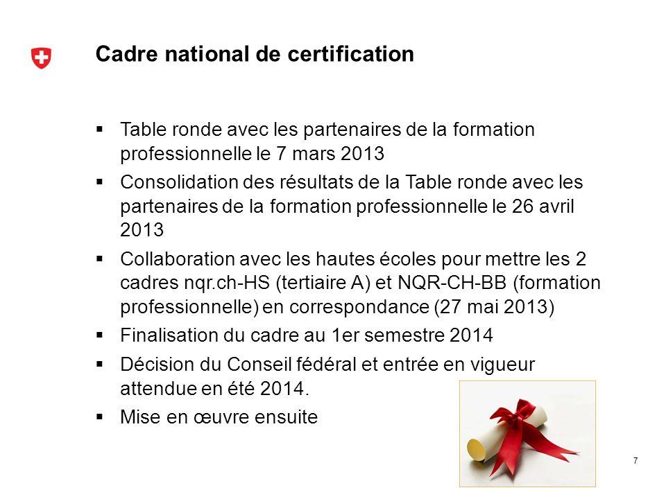 Cadre national de certification Table ronde avec les partenaires de la formation professionnelle le 7 mars 2013 Consolidation des résultats de la Tabl