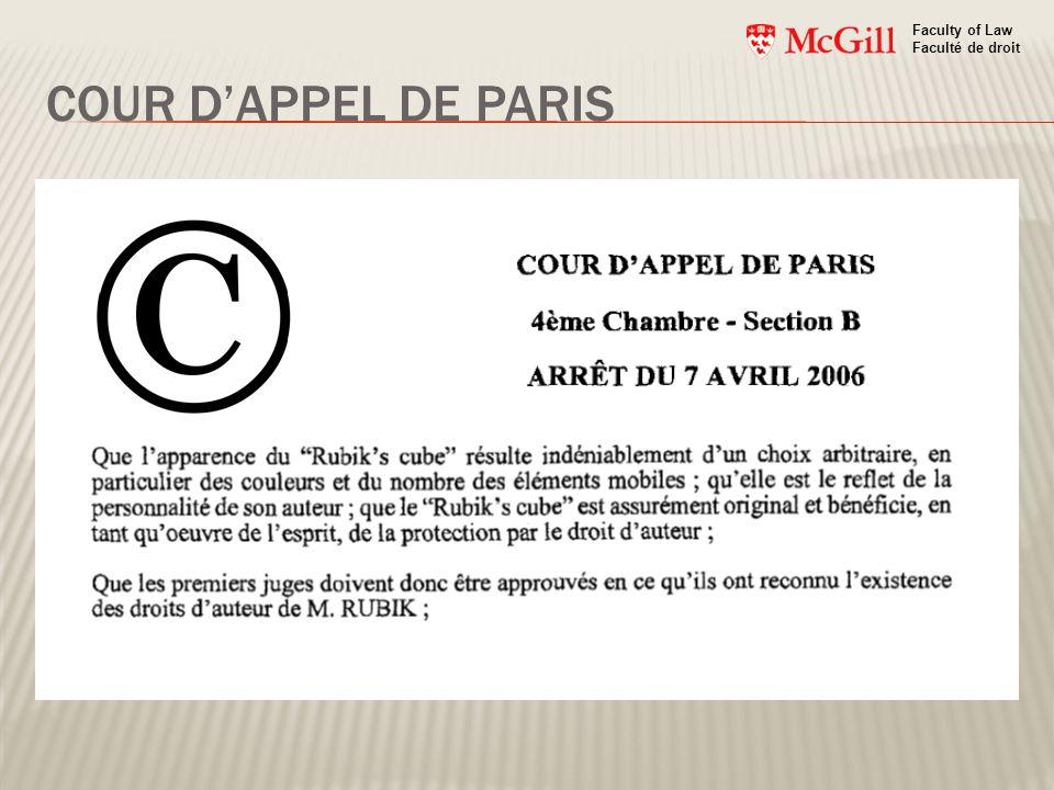 COUR DAPPEL DE PARIS Faculty of Law Faculté de droit