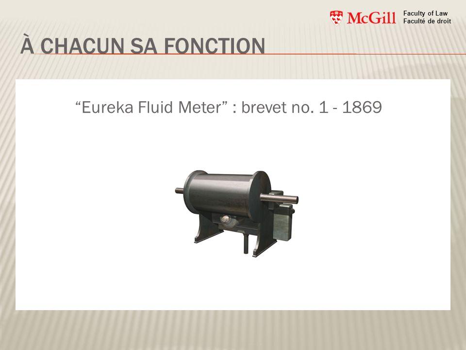 À CHACUN SA FONCTION Faculty of Law Faculté de droit Eureka Fluid Meter : brevet no. 1 - 1869