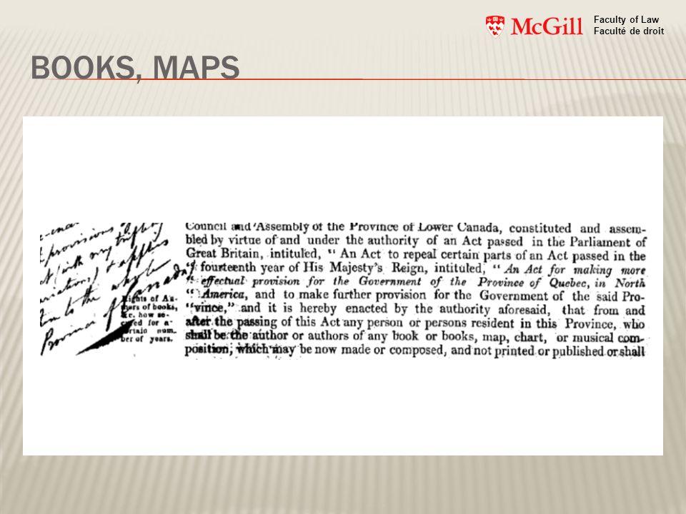 BOOKS, MAPS Faculty of Law Faculté de droit