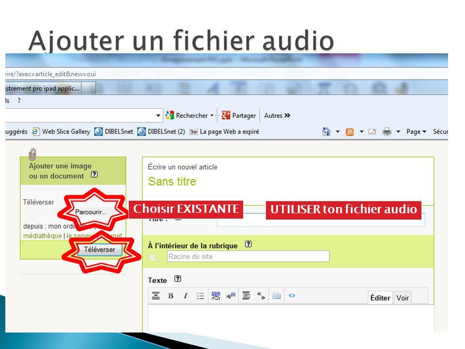 Choisir EXISTANTE UTILISER ton fichier audio