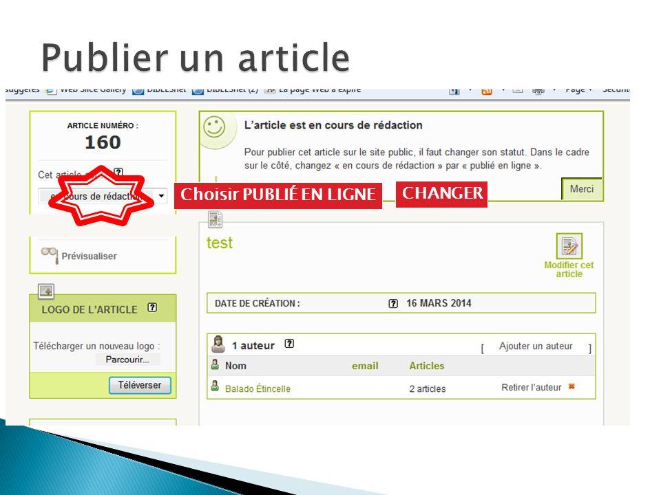 Choisir PUBLIÉ EN LIGNE CHANGER