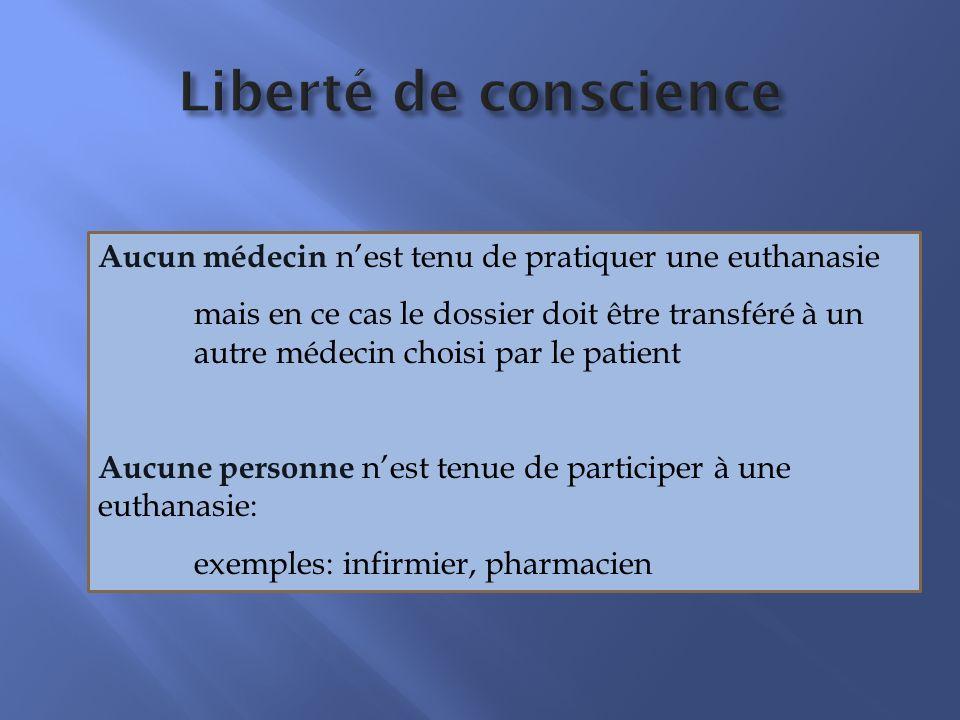 Liberté de conscience Aucun médecin nest tenu de pratiquer une euthanasie mais en ce cas le dossier doit être transféré à un autre médecin choisi par le patient Aucune personne nest tenue de participer à une euthanasie: exemples: infirmier, pharmacien