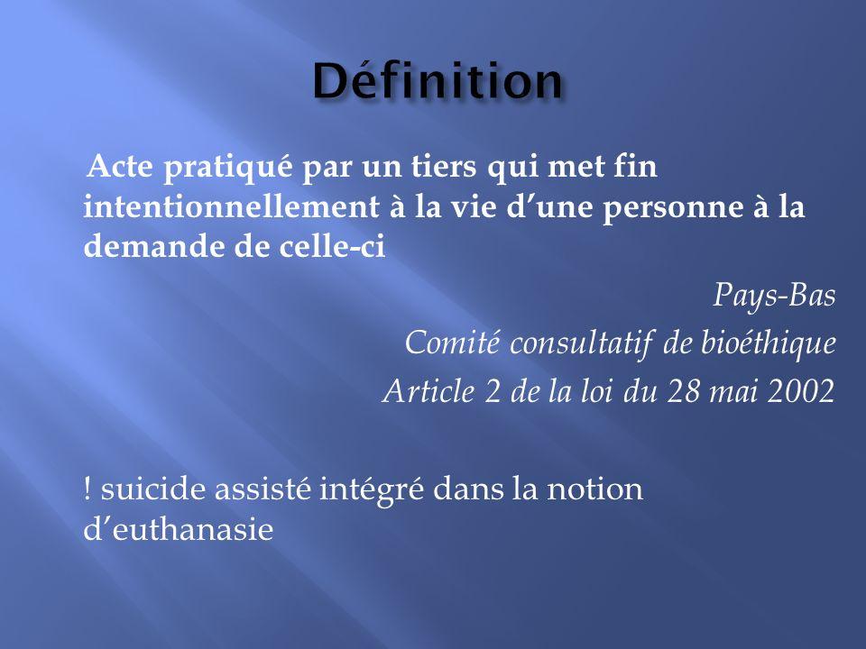 Définition Acte pratiqué par un tiers qui met fin intentionnellement à la vie dune personne à la demande de celle-ci Pays-Bas Comité consultatif de bioéthique Article 2 de la loi du 28 mai 2002 .