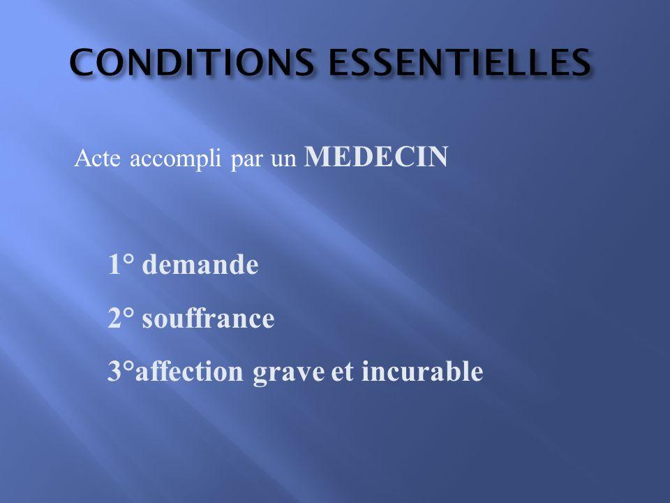 CONDITIONS ESSENTIELLES Acte accompli par un MEDECIN 1° demande 2° souffrance 3°affection grave et incurable