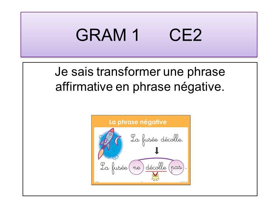 GRAM 2 CE2 Je sais transformer une phrase simple affirmative en phrase interrogative ou inversement.