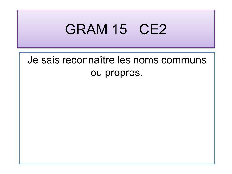 GRAM 15 CE2 Je sais reconnaître les noms communs ou propres.