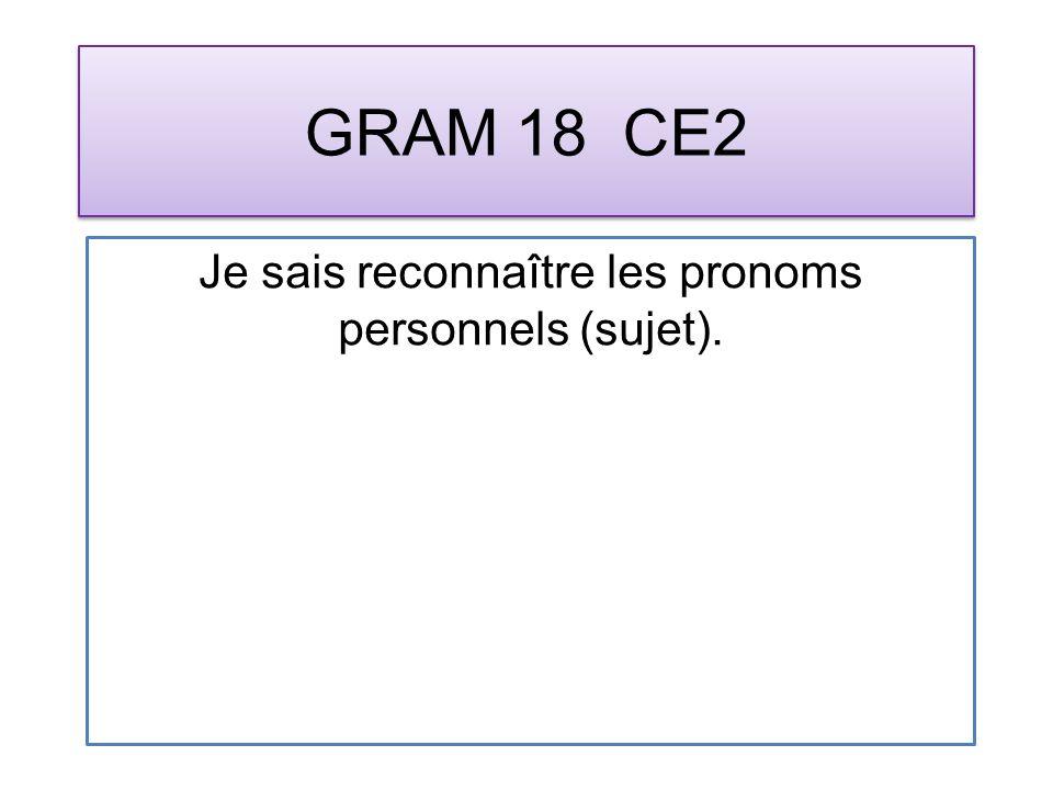 GRAM 18 CE2 Je sais reconnaître les pronoms personnels (sujet).