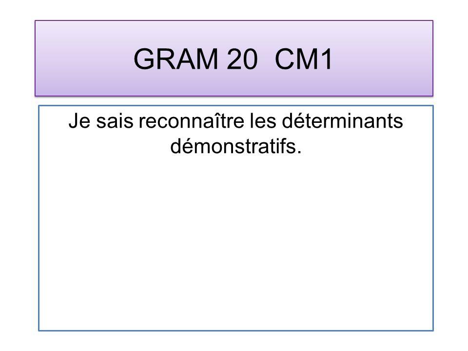 GRAM 20 CM1 Je sais reconnaître les déterminants démonstratifs.