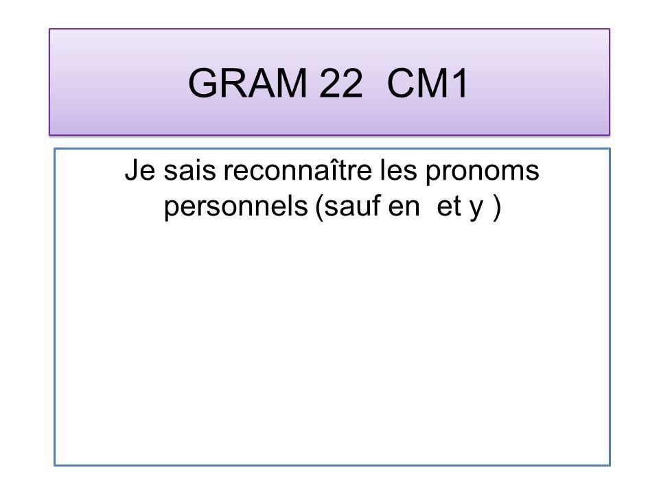 GRAM 22 CM1 Je sais reconnaître les pronoms personnels (sauf en et y )