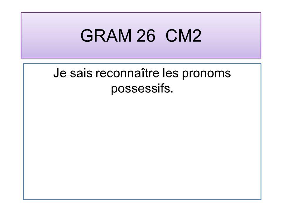 GRAM 26 CM2 Je sais reconnaître les pronoms possessifs.