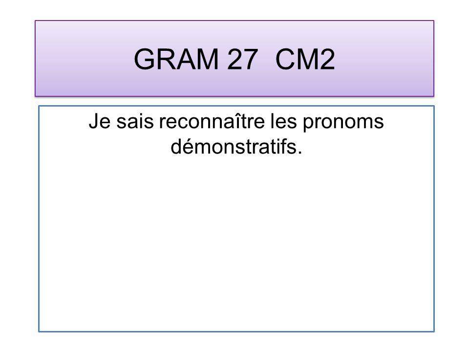 GRAM 27 CM2 Je sais reconnaître les pronoms démonstratifs.