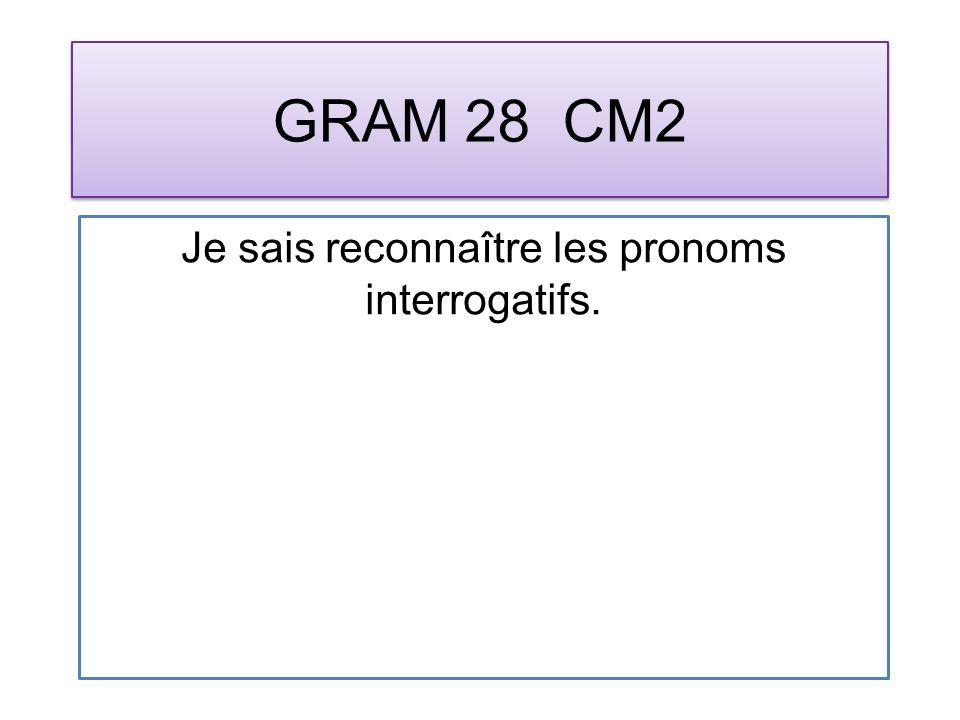 GRAM 28 CM2 Je sais reconnaître les pronoms interrogatifs.