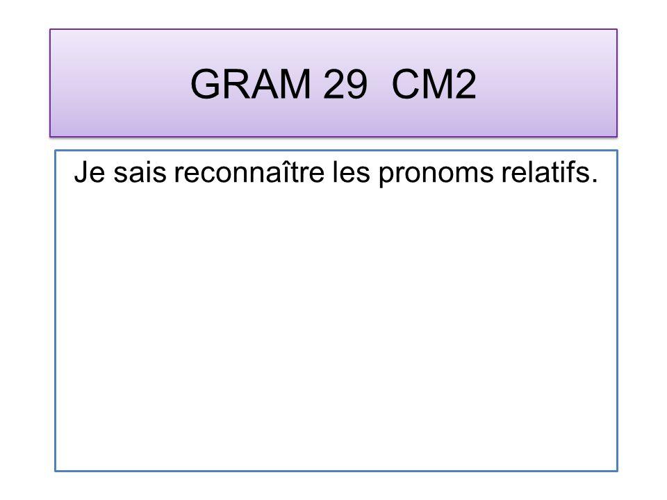 GRAM 29 CM2 Je sais reconnaître les pronoms relatifs.