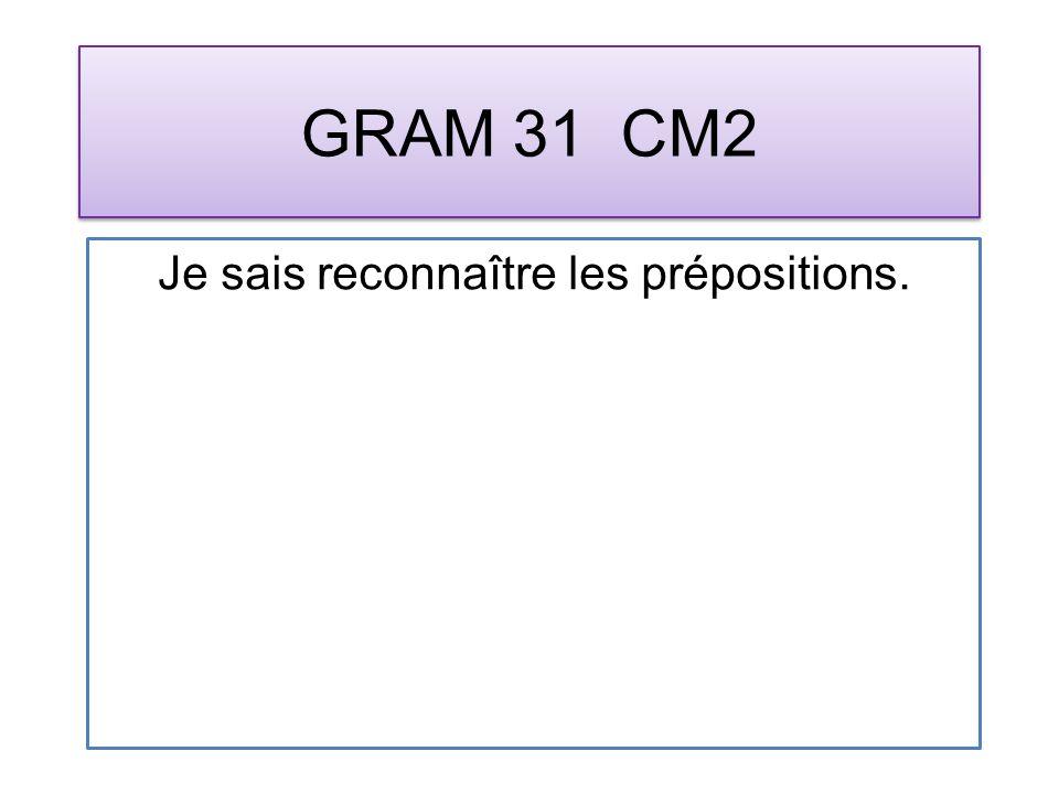GRAM 31 CM2 Je sais reconnaître les prépositions.