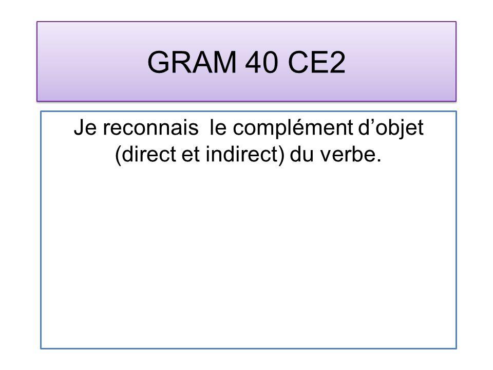 GRAM 40 CE2 Je reconnais le complément dobjet (direct et indirect) du verbe.