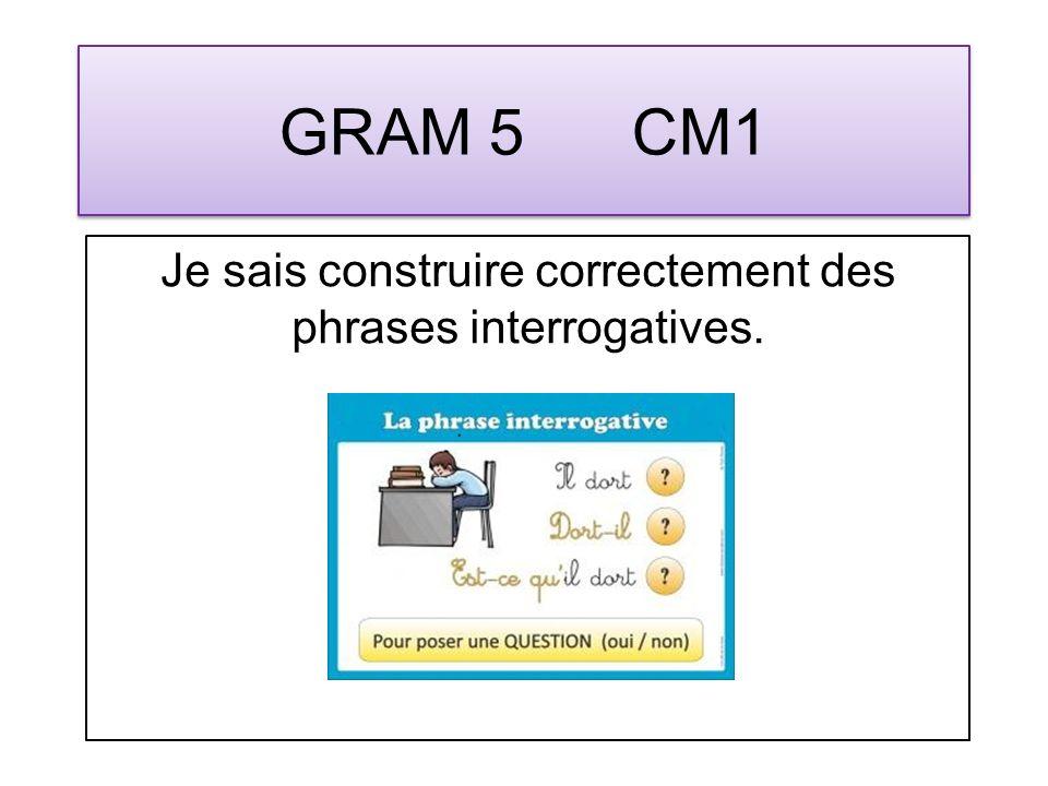 GRAM 6 CM1 Je sais construire correctement des phrases injonctives.