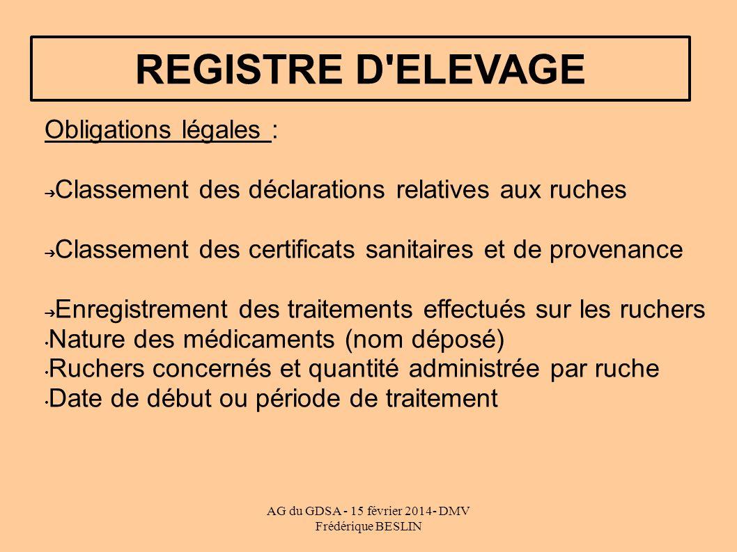 AG du GDSA - 15 février 2014- DMV Frédérique BESLIN REGISTRE D'ELEVAGE Obligations légales : Classement des déclarations relatives aux ruches Classeme