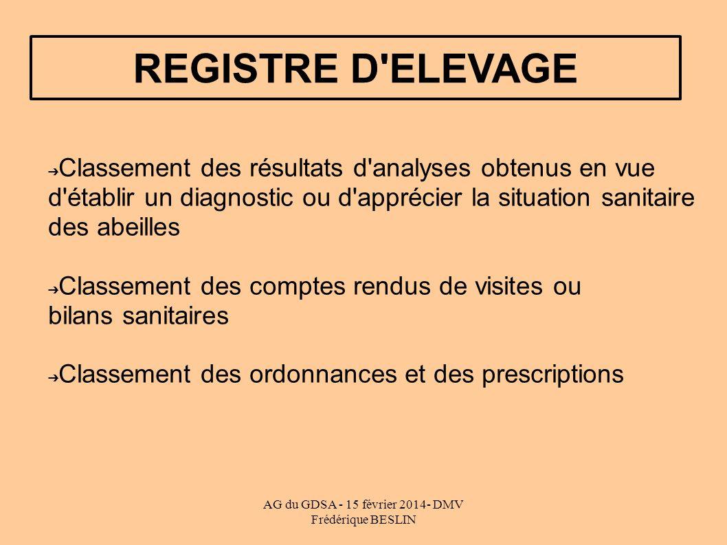 AG du GDSA - 15 février 2014- DMV Frédérique BESLIN REGISTRE D'ELEVAGE Classement des résultats d'analyses obtenus en vue d'établir un diagnostic ou d