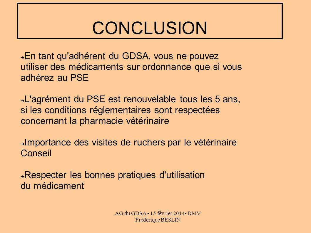 AG du GDSA - 15 février 2014- DMV Frédérique BESLIN CONCLUSION En tant qu'adhérent du GDSA, vous ne pouvez utiliser des médicaments sur ordonnance que