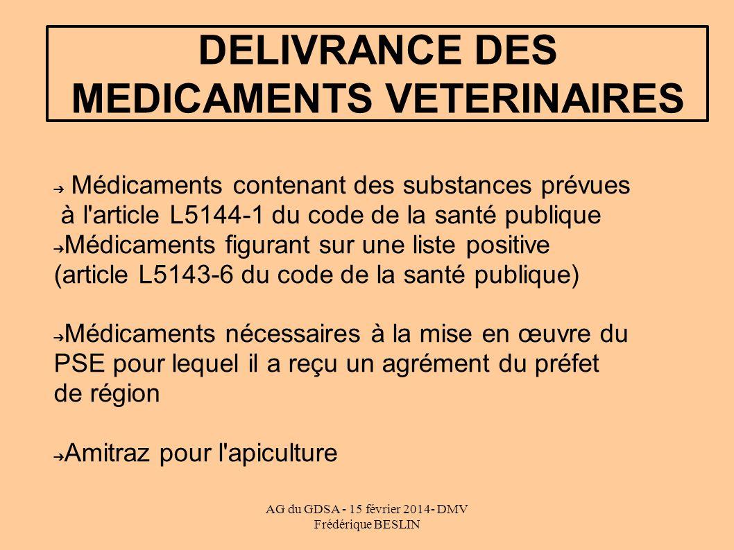 AG du GDSA - 15 février 2014- DMV Frédérique BESLIN DELIVRANCE DES MEDICAMENTS VETERINAIRES Médicaments contenant des substances prévues à l article L5144-1 du code de la santé publique Médicaments figurant sur une liste positive (article L5143-6 du code de la santé publique) Médicaments nécessaires à la mise en œuvre du PSE pour lequel il a reçu un agrément du préfet de région Amitraz pour l apiculture