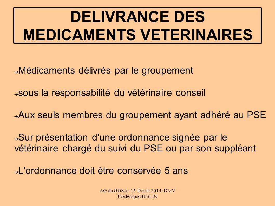 AG du GDSA - 15 février 2014- DMV Frédérique BESLIN DELIVRANCE DES MEDICAMENTS VETERINAIRES Médicaments délivrés par le groupement sous la responsabil
