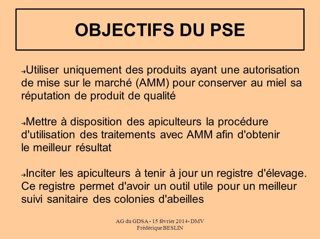 AG du GDSA - 15 février 2014- DMV Frédérique BESLIN OBJECTIFS DU PSE Utiliser uniquement des produits ayant une autorisation de mise sur le marché (AMM) pour conserver au miel sa réputation de produit de qualité Mettre à disposition des apiculteurs la procédure d utilisation des traitements avec AMM afin d obtenir le meilleur résultat Inciter les apiculteurs à tenir à jour un registre d élevage.
