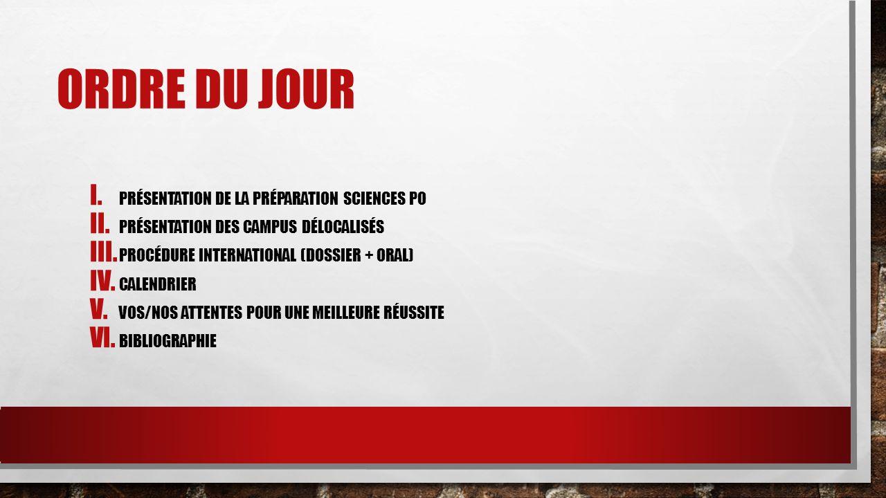 ORDRE DU JOUR I. PRÉSENTATION DE LA PRÉPARATION SCIENCES PO II. PRÉSENTATION DES CAMPUS DÉLOCALISÉS III. PROCÉDURE INTERNATIONAL (DOSSIER + ORAL) IV.