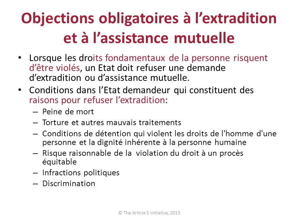 Objections obligatoires à lextradition et à lassistance mutuelle Lorsque les droits fondamentaux de la personne risquent dêtre violés, un Etat doit refuser une demande dextradition ou dassistance mutuelle.