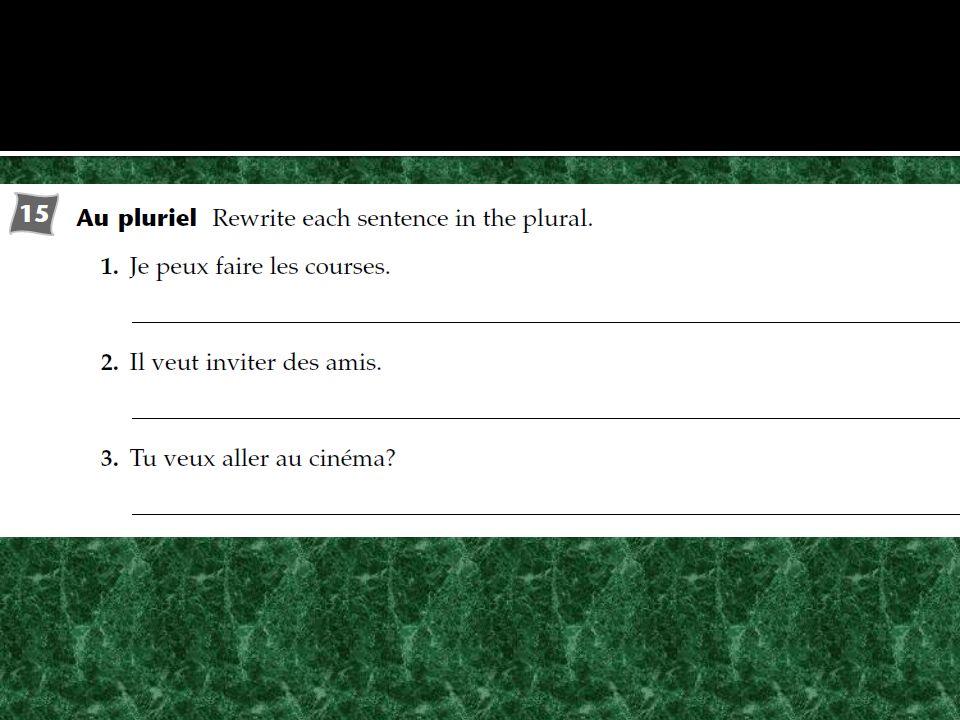 Objectifs: Identifier les magasins Faire les courses Utiliser les verbes faire, vouloir et pouvoir Utiliser les mots de quantités Utiliser le partitif Activités: Cahier BV p.