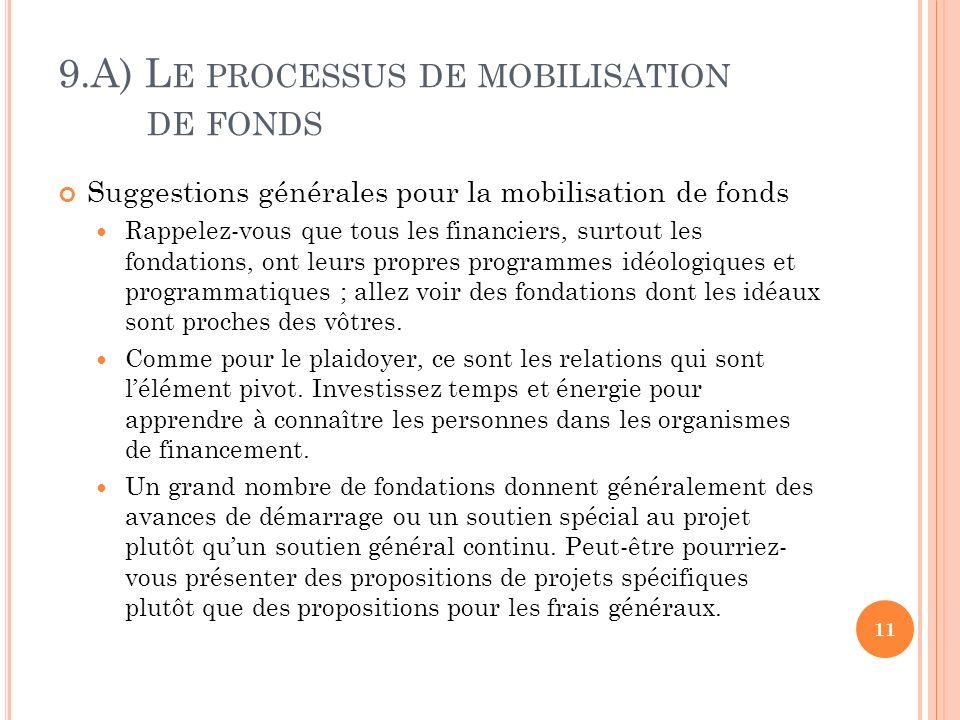 9.A) L E PROCESSUS DE MOBILISATION DE FONDS Suggestions générales pour la mobilisation de fonds Rappelez-vous que tous les financiers, surtout les fondations, ont leurs propres programmes idéologiques et programmatiques ; allez voir des fondations dont les idéaux sont proches des vôtres.