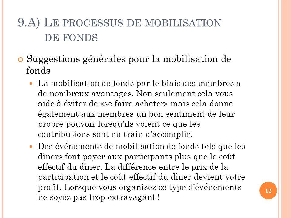 9.A) L E PROCESSUS DE MOBILISATION DE FONDS Suggestions générales pour la mobilisation de fonds La mobilisation de fonds par le biais des membres a de nombreux avantages.