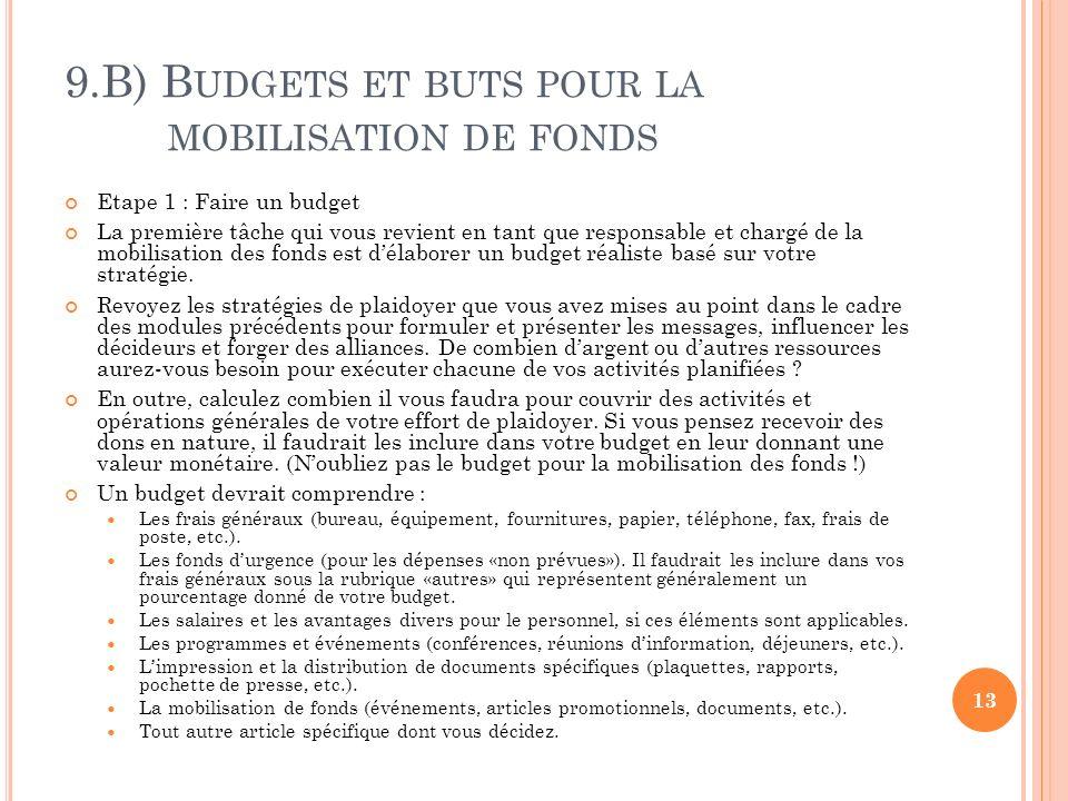 9.B) B UDGETS ET BUTS POUR LA MOBILISATION DE FONDS Etape 1 : Faire un budget La première tâche qui vous revient en tant que responsable et chargé de la mobilisation des fonds est délaborer un budget réaliste basé sur votre stratégie.