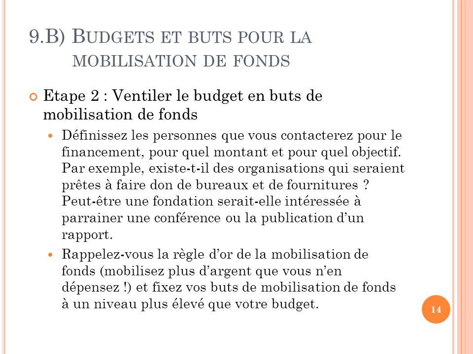 9.B) B UDGETS ET BUTS POUR LA MOBILISATION DE FONDS Etape 2 : Ventiler le budget en buts de mobilisation de fonds Définissez les personnes que vous contacterez pour le financement, pour quel montant et pour quel objectif.
