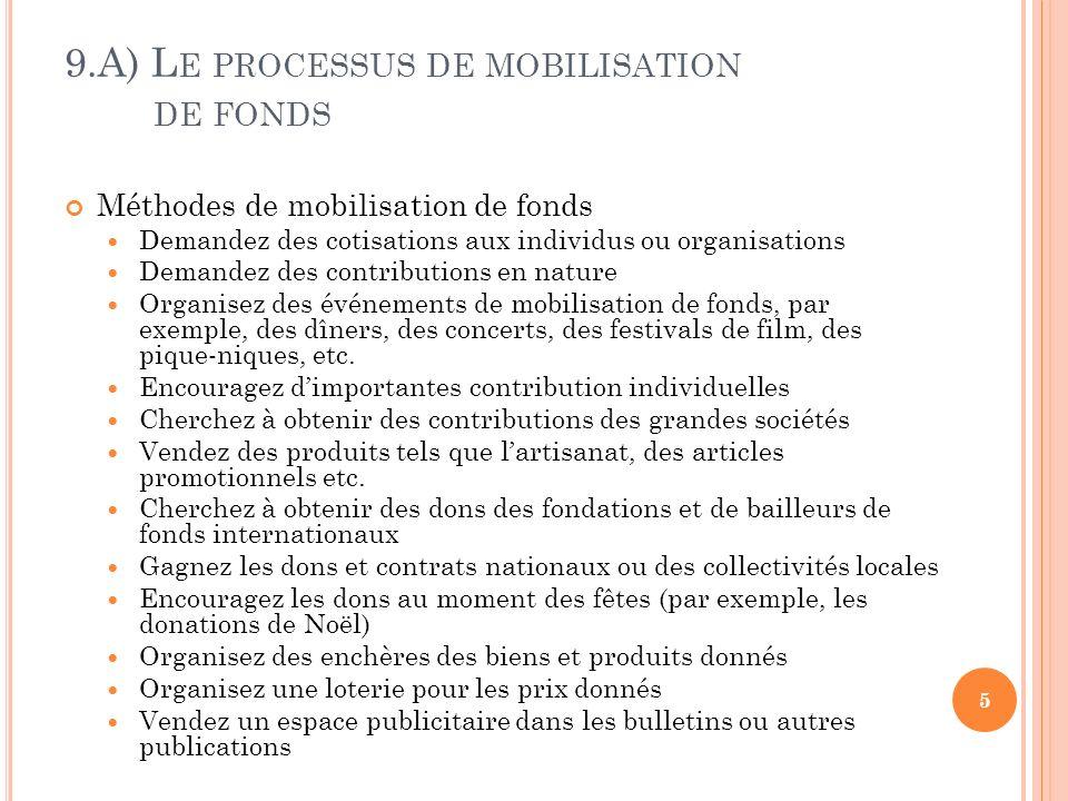 9.A) L E PROCESSUS DE MOBILISATION DE FONDS Méthodes de mobilisation de fonds Demandez des cotisations aux individus ou organisations Demandez des con