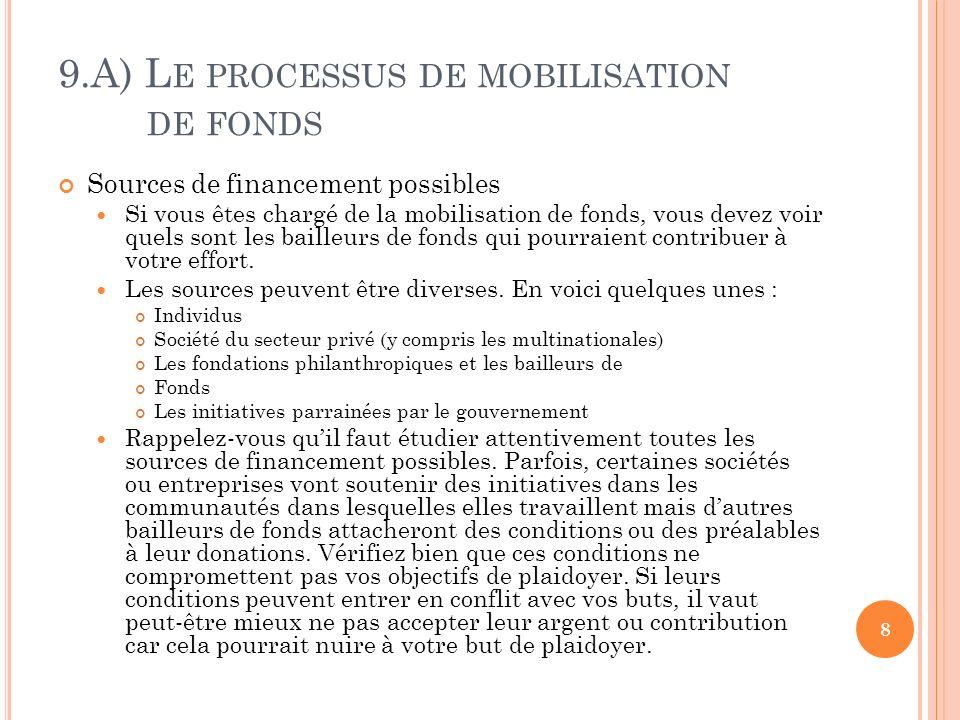 9.A) L E PROCESSUS DE MOBILISATION DE FONDS Sources de financement possibles Si vous êtes chargé de la mobilisation de fonds, vous devez voir quels sont les bailleurs de fonds qui pourraient contribuer à votre effort.