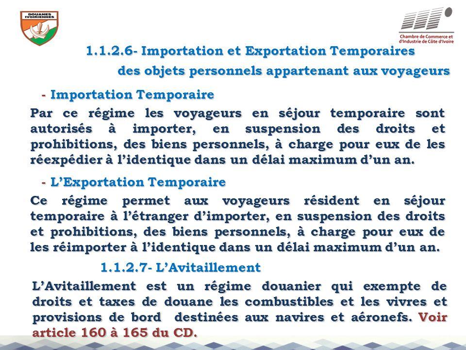 1.1.2.6- Importation et Exportation Temporaires - Importation Temporaire - LExportation Temporaire des objets personnels appartenant aux voyageurs 1.1