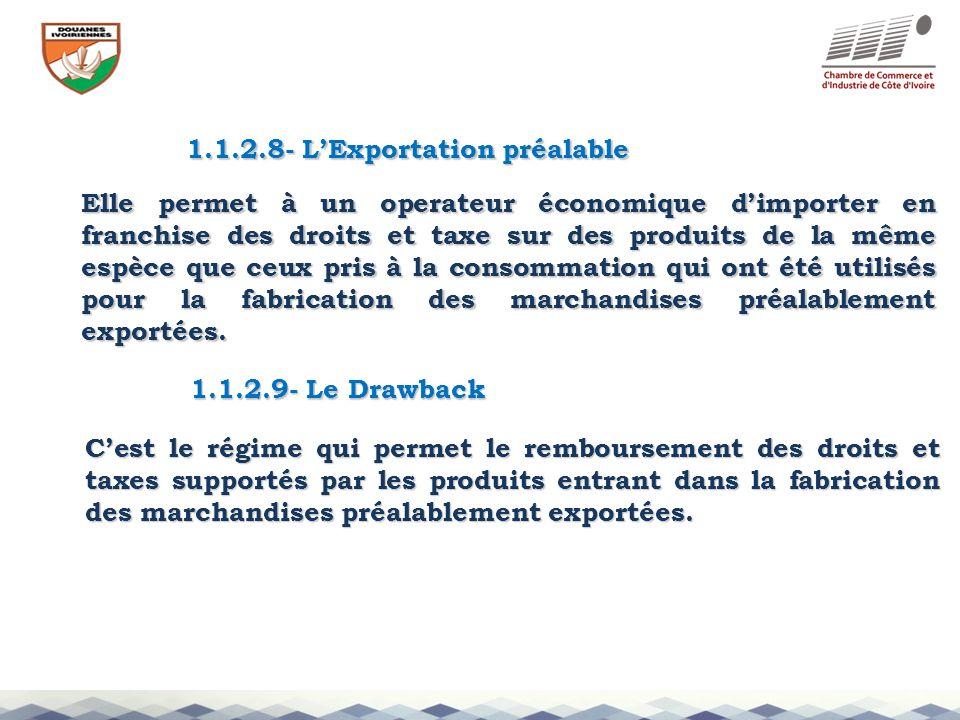 1.1.2.8- LExportation préalable Elle permet à un operateur économique dimporter en franchise des droits et taxe sur des produits de la même espèce que