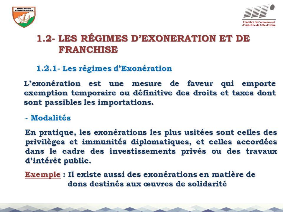 1.2- LES RÉGIMES DEXONERATION ET DE FRANCHISE FRANCHISE 1.2.1- Les régimes dExonération Lexonération est une mesure de faveur qui emporte exemption te