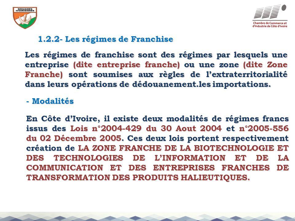 1.2.2- Les régimes de Franchise Les régimes de franchise sont des régimes par lesquels une entreprise (dite entreprise franche) ou une zone (dite Zone