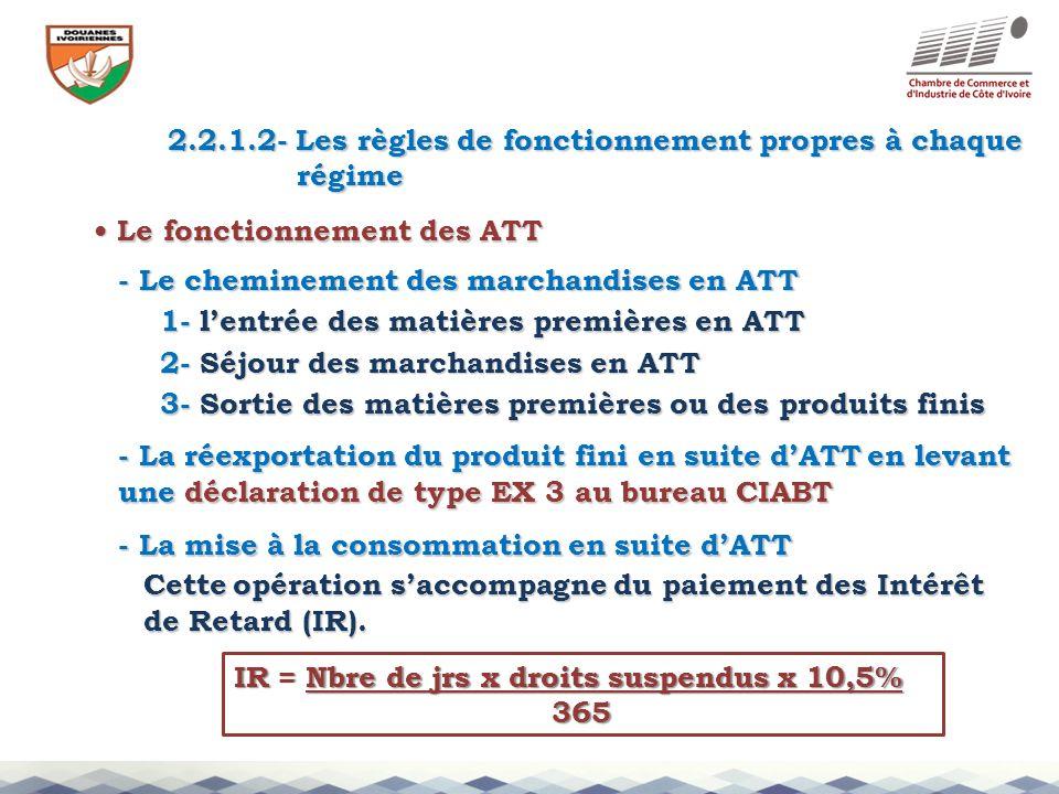 2.2.1.2- Les règles de fonctionnement propres à chaque régime régime Le fonctionnement des ATT Le fonctionnement des ATT - Le cheminement des marchand