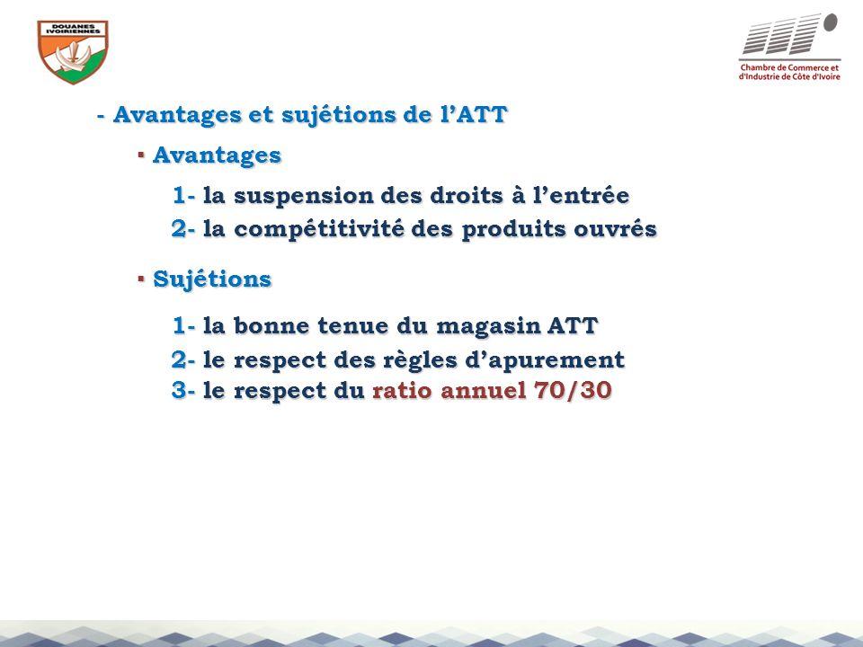 - Avantages et sujétions de lATT 1- la suspension des droits à lentrée 2- la compétitivité des produits ouvrés 3- le respect du ratio annuel 70/30 Ava
