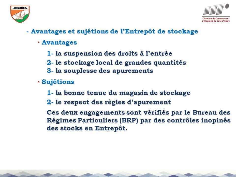 - Avantages et sujétions de lEntrepôt de stockage 1- la suspension des droits à lentrée 2- le stockage local de grandes quantités Avantages Avantages